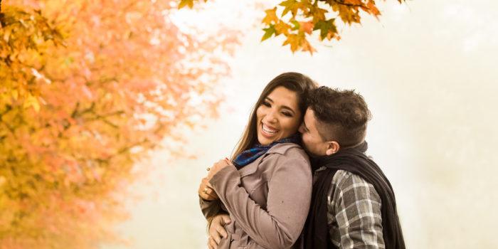ensaio de casamento no outono